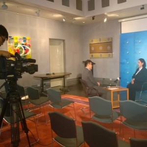Doing a TV interview in Beijing